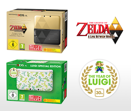 Nintendo 3DS XL-Systeme The Legend of Zelda: A Link Between Worlds Limited Edition & Luigi Special Edition werden in Europa veröffentlicht!