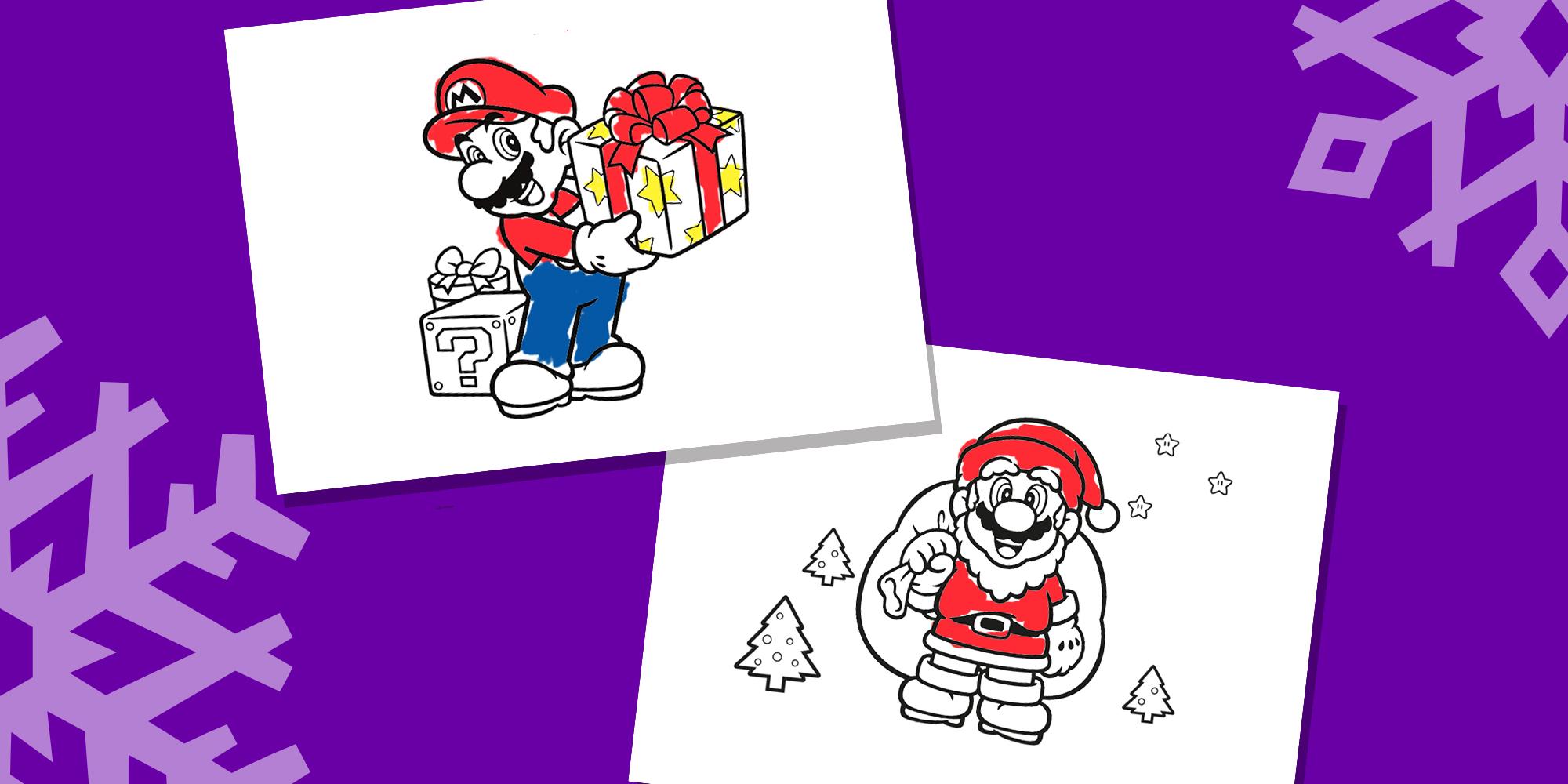 Coloriage De Noel Avec Mario Nintendo Kids