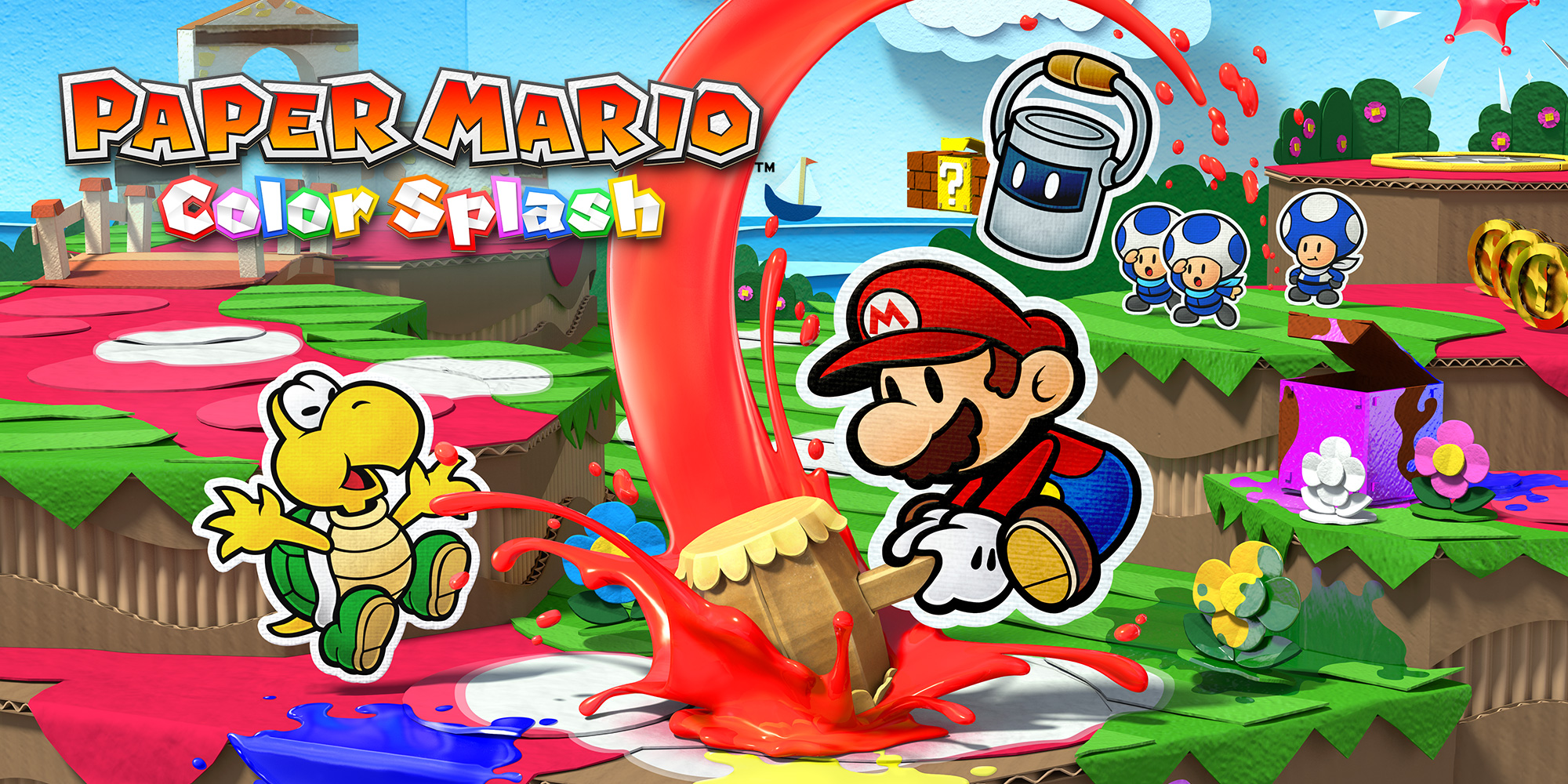 Paper mario color splash wii u jeux nintendo for What color is mario